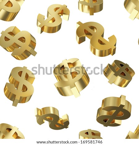 Golden Dollar Signs Seamless Pattern Background - stock photo