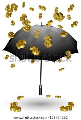 Golden dollar symbols falling down on a black umbrella / Raining dollars - stock photo