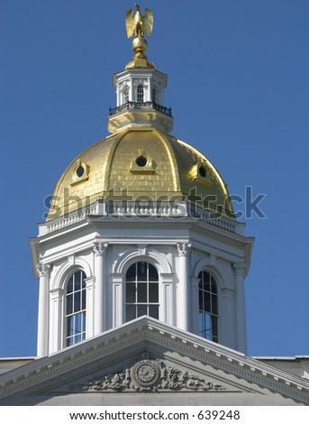 Golden dome, New Hampshire Statue House, Concord. - stock photo