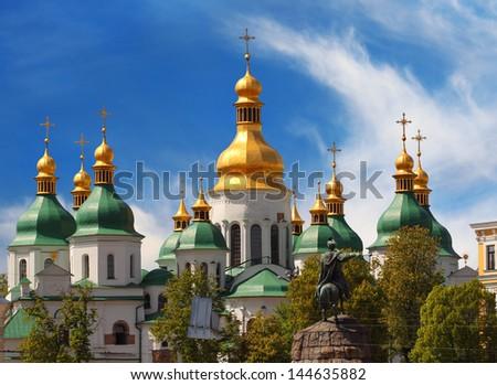 Golden domes of Saint Sophia Cathedral in Kiev, Ukraine - stock photo