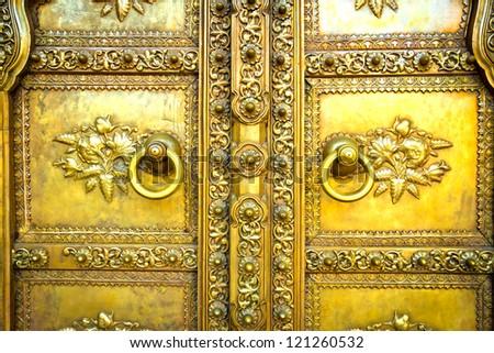Golden door in City Palace. Jaipur, India - stock photo