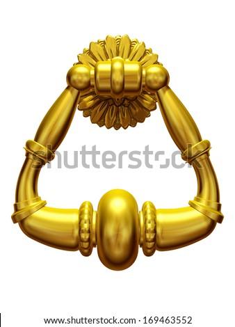 golden door knocker, knocking on heavens door - stock photo