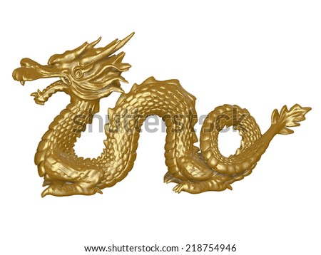 golden dragon - stock photo