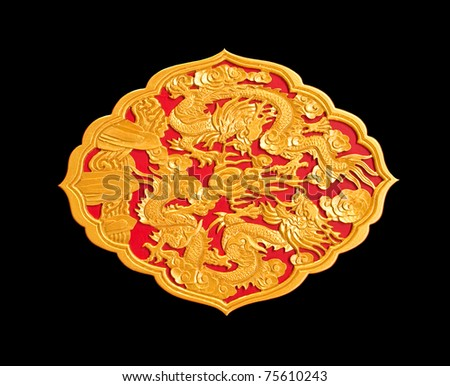 golden dragon decorated on red wood in chinese temple,Isolate on black background - stock photo