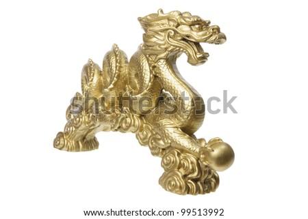 Golden Dragon on White Background - stock photo