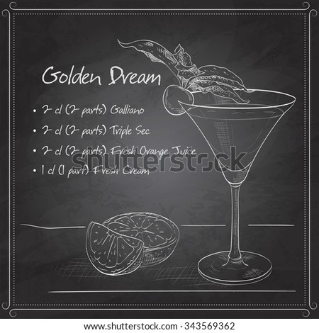 Golden Dream is a cocktail that contains Galliano, Cointreau, fresh orange juice and fresh cream on black board. It is classed as an after dinner drink.