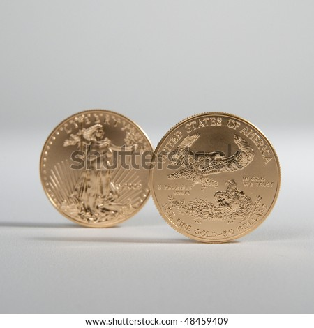 Golden eagle gold bullion. Focus on reverse side of the coin - stock photo