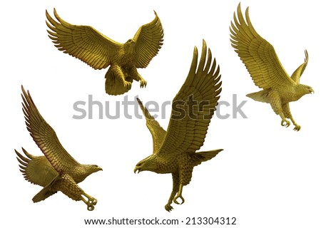 Golden eagles statue with big expanded wings Stock Photo - stock photo