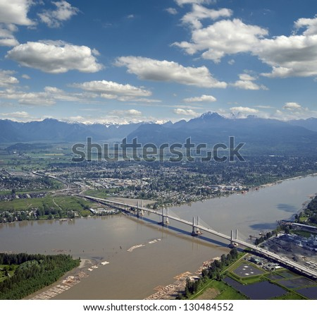 Golden Ears Bridge in Surrey, British Coluimbia, Canada - stock photo