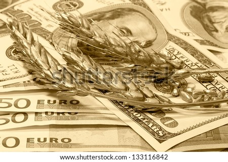 Golden ears of wheat on the dollar and euro banknotes, sepia - stock photo