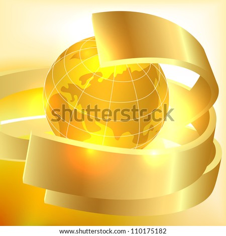 Golden Earth background. Raster copy - stock photo