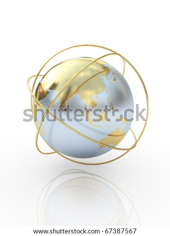 Golden earth  the communication symbol. Asia. - stock photo