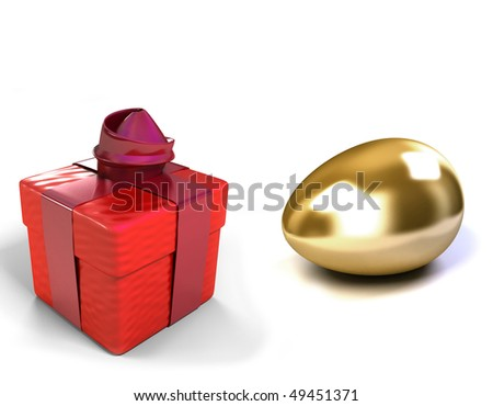Golden Egg and gift box - stock photo