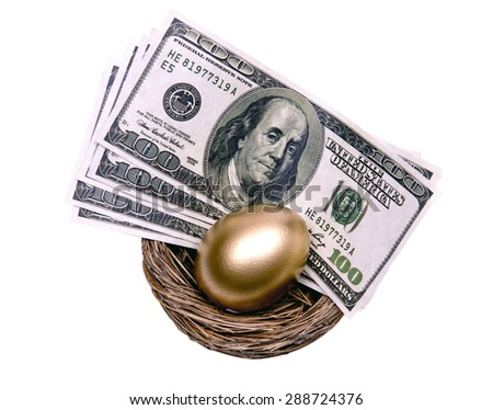 Golden egg and money in a nest/ Beautiful Golden Egg and Money In Nest For Saving - stock photo