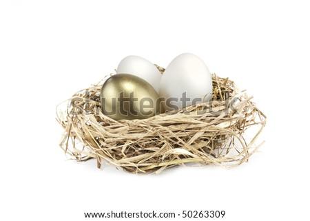 golden egg growing amongst normal white eggs - stock photo