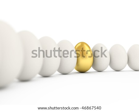 Golden egg in a row of the white eggs. 3d illustration with realistic factures and DOFF. - stock photo