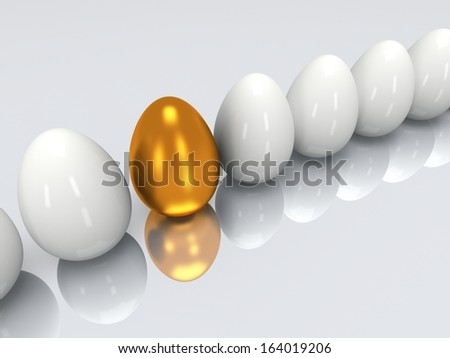 Golden egg in a row of the white eggs. 3D render. Easter, out of crowd, business concept - stock photo