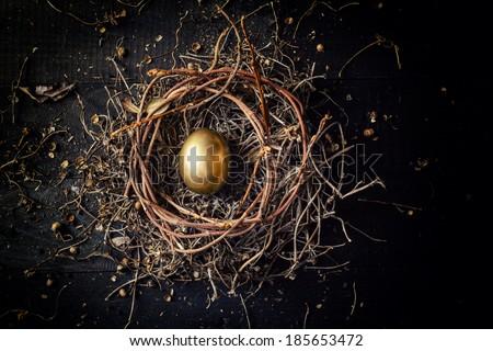 Golden egg in nest on dark vintage wooden background  - stock photo
