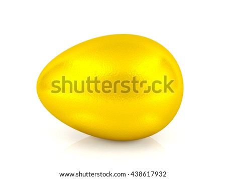 Golden egg isolated on white background, financial investment, business growth, sustainable profit concept. Golden egg for Easter holiday, 3D rendering - stock photo