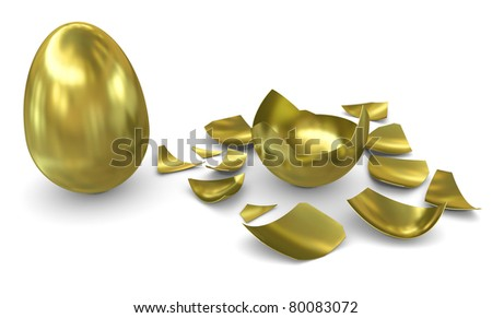 Golden egg on a white background: not hatched and hatched - stock photo