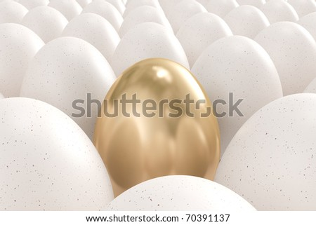 Golden egg standing out from the others - stock photo
