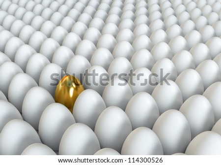 Golden egg standing out from the others. Conceptual illustration. 3d render - stock photo