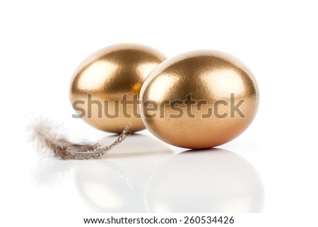 golden eggs and feather isolated on white background - stock photo