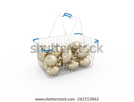 Golden eggs in a metal shopping basket isolated on white background