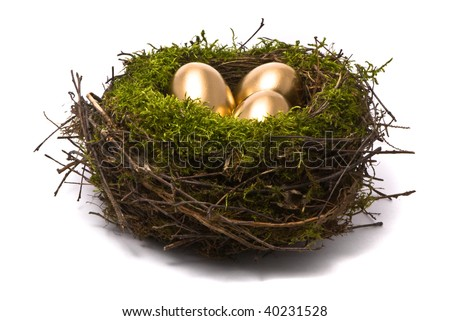 Golden eggs in a nest - stock photo