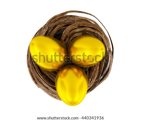 Golden eggs in bird nest isolated on white background, financial investment, business growth, sustainable profit concept. Golden eggs for Easter holiday, 3D rendering - stock photo