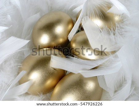 golden eggs in feathers