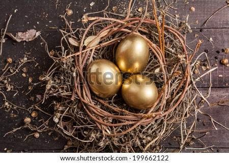Golden eggs in nest on dark vintage wooden background  - stock photo