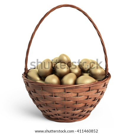 Golden eggs in wicker basket. Easter. 3D icon isolated - stock photo