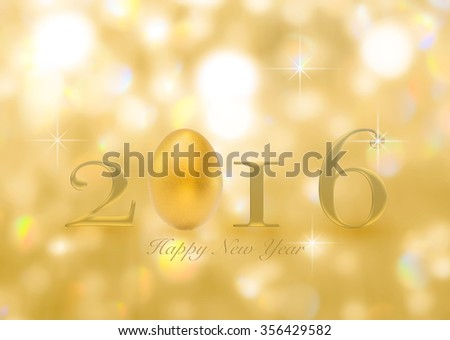 Golden eggs with happy new year 2016 greeting text message announcement letters on blurred abstract background gold magical sparkling shimmering gold color bokeh light: Year of prosperity concept - stock photo