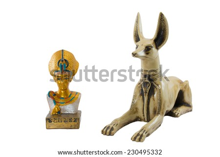 golden egypt pharaoh and fierce egypt anubis isolated on white background. This item is my collection, no restrict in copy or use - stock photo