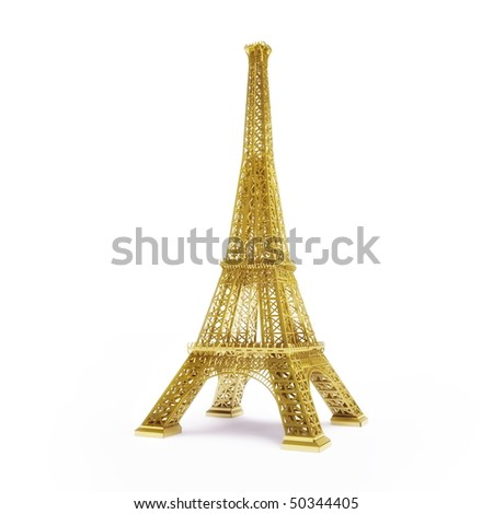 Golden Eiffel Tower isolated on white background - stock photo