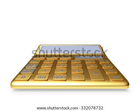Golden electronic calculator isolated on white background - stock photo