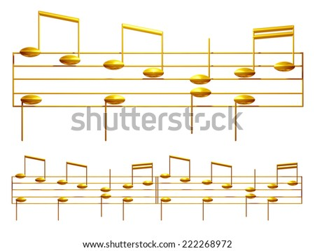 golden element of notes on note lines for ornament, frame or border - stock photo