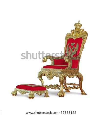 Golden emperor's Throne. Isolated on white with clipping path - stock photo