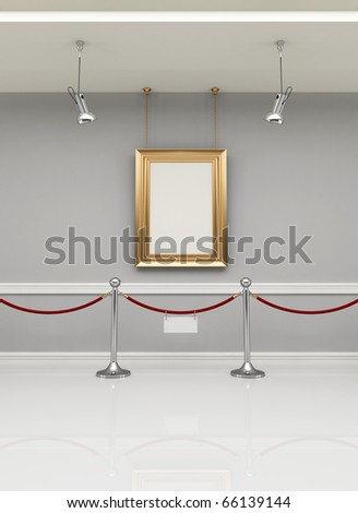 golden empty frame in a museum with barrier rope - rendering - stock photo