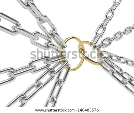 Golden Engagement Ring in a chrome chain, isolated on white. - stock photo