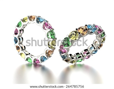 Golden Engagement Ring with Diamond different  color. Jewelry background - stock photo