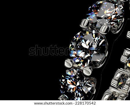 Golden Engagement Ring with Diamond. Fashion Jewelry background - stock photo