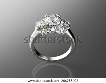 Golden Engagement Ring with Diamond. Jewelry background - stock photo