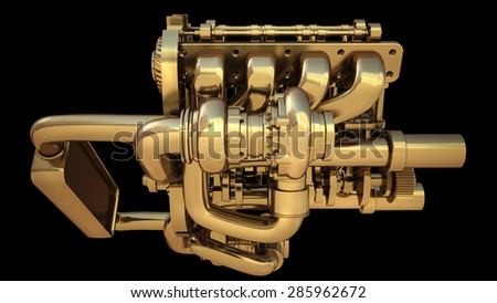 Golden engine isolated on black background. High resolution 3d