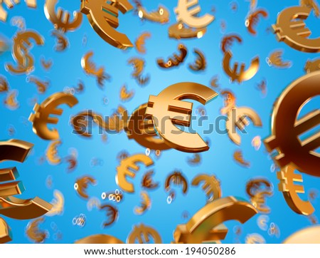Golden euro signs falling on the blue background. - stock photo
