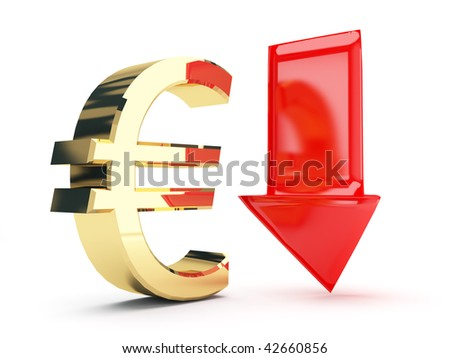 golden euro symbol and down arrows - stock photo