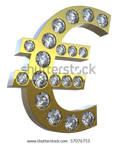 Golden Euro symbol encrusted with diamonds isolated over white.  Other gems are in my portfolio.