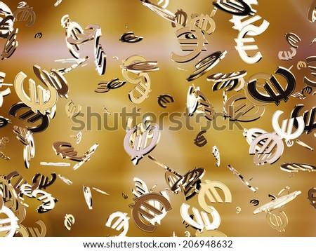 Golden euros. - stock photo