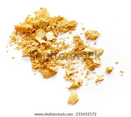 Golden eye shadow isolated on white background - stock photo
